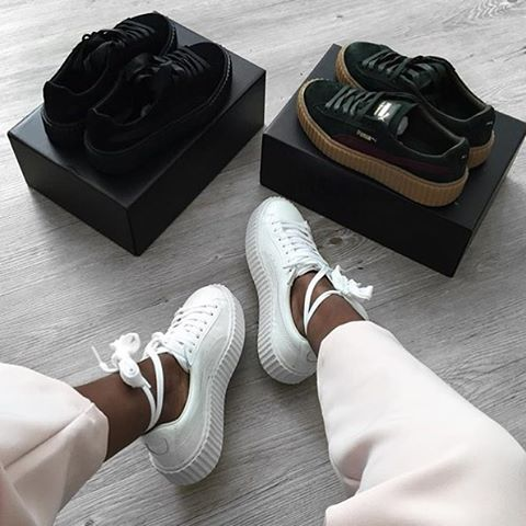 @badgalriri X @puma Fenty Creepers will be available in Bluewater, Henry St & Lakeside stores tomorrow. Also available in our brother's @offspringhq Brighton store tomorrow. Sold out online so be quick to get yours! RG: @sandralambeck #fentyxpuma #puma