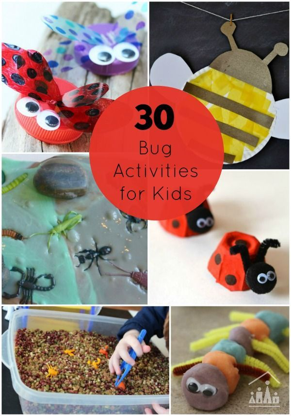 30 Bug Activities for Kids. Includes Arts and crafts, sensory play and learning fun with a bug theme for kids of all ages to enjoy.
