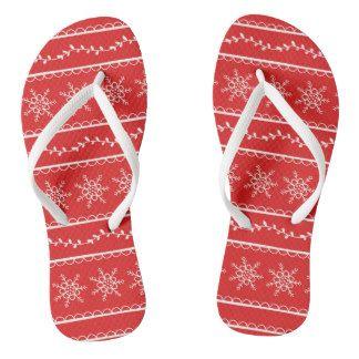 Snowflakes and Vines Designer Flip Flops