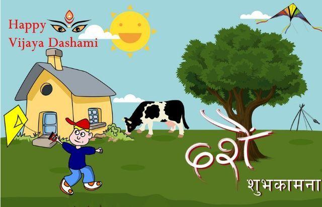 Happy Dashain Card Dashain Greeting Card In English Greeting Cards Festive Cards Greetings