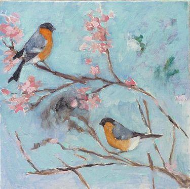 """Saatchi+Online+Artist+Adriana+Eyzaguirre;+Painting,+""""China+Birds""""+#art"""