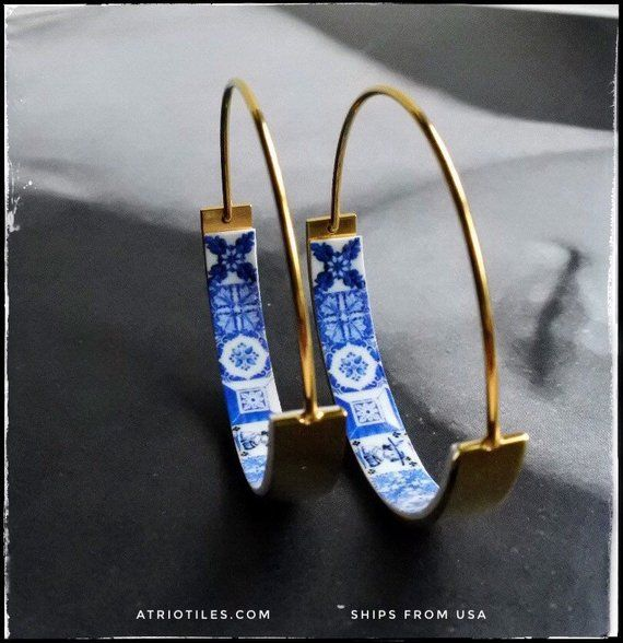 Hoops Earrings ATRIO Tile FLAT Bottom Portugal Stainless Steel Antique Azulejo – 1 1/4″ Blue Tiles USA Shipping