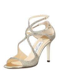 Jimmy Choo Ivette Glitter Fabric Crisscross Sandal in Gold (light bronze)