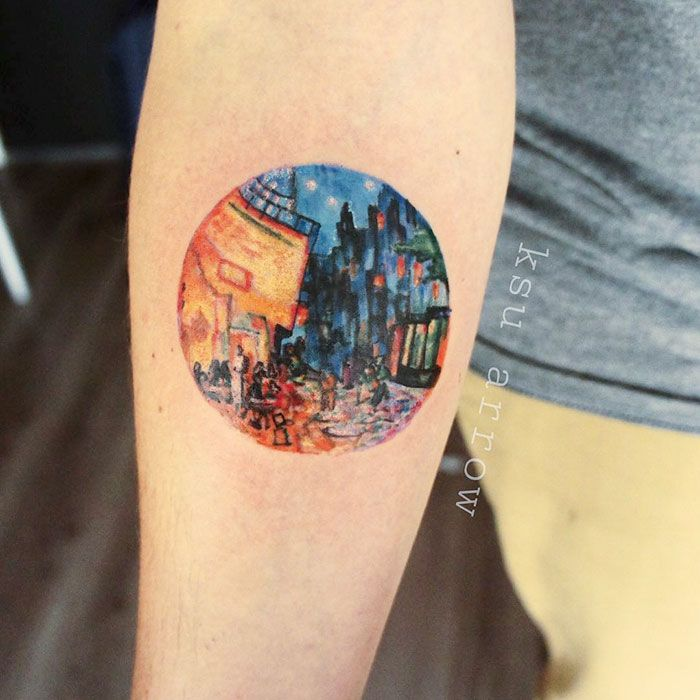 Classical Art-Inspired Tattoos (Café Terrace At Night, Vincent Van Gogh)