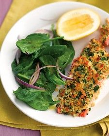 Herb Crusted Salmon with Spinach Salad  Dijon mustard gives the topping a nice kick and balances the richness of the salmon fillets. Lemon juice in the spinach salad offers another bright note.