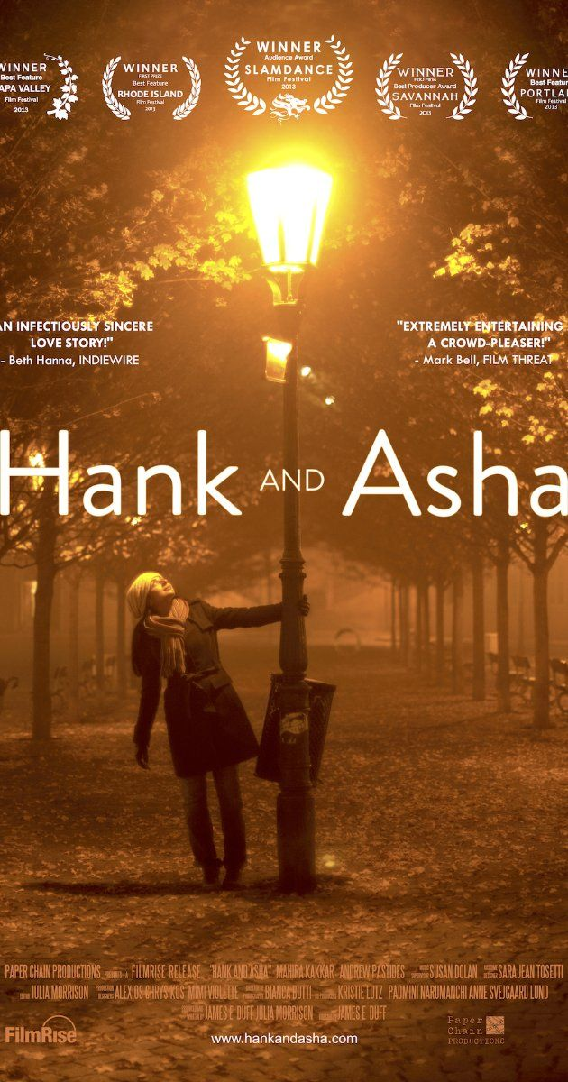 Hank and Asha (2013) 73 min  -  Comedy | Romance ...  An Indian student in Prague and a lonely New Yorker correspond online through video letters. A voyeuristic love story about aching for human connection in a hyper-connected world.  Director: James E. Duff Writers: James E. Duff, Julia Morrison Stars: Mahira Kakkar, Andrew Pastides, Emmanuel Baptiste | See full cast and crew »