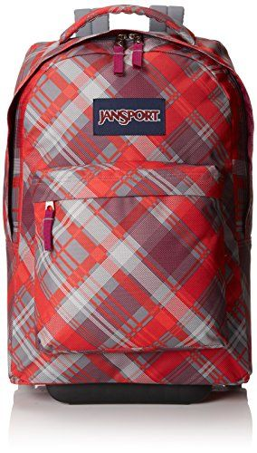 Jansport Rolling Backpack for girls in Red Grey and White. Sideways Plaid.