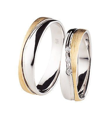 +TOP ANGEBOT+ 2x 375 Weißgold Gold bicolor Trauringe Eheringe + Diamant Brillant