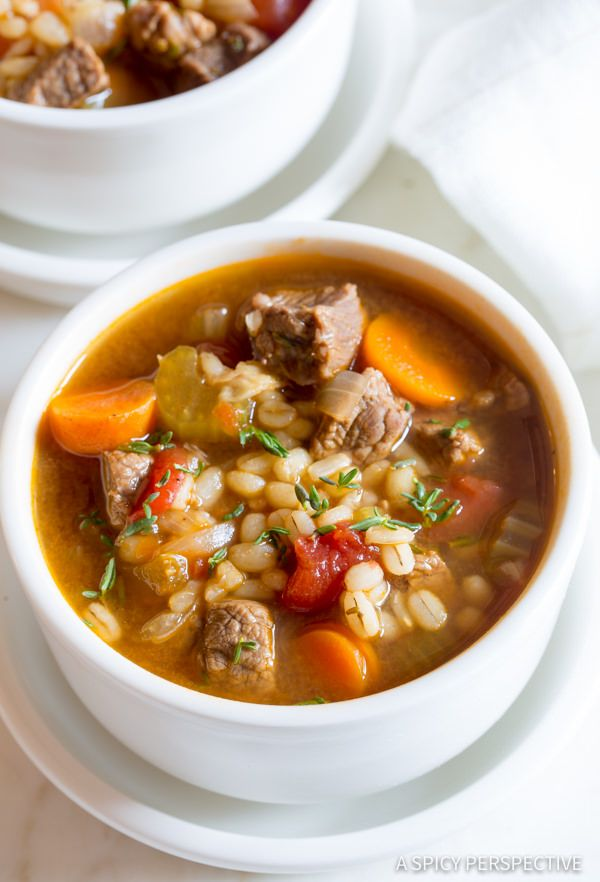 Healthy Perfect Beef Barley Soup Recipe | ASpicyPerspective.com