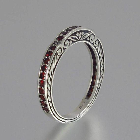 caryatid wedding band in sterling silver with garnet - Garnet Wedding Rings