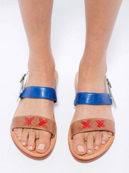 Nancybird - Stitch Sandals - Blue - Tan - Red - Leather $145