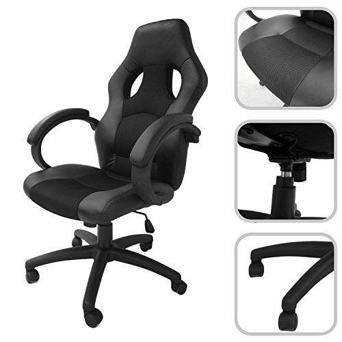 Todeco – Chaise de bureau ajustable en simili cuir et mailles aérées noires – Fauteuil de bureau inclinable: Price:69.99Offrez-vous le…