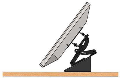 The PLM1022 is an LCD monitor mount designed for podium and lectern surfaces. It provides the capability to mount and position LCD screens at a comfortable viewing angle for standing presenters.