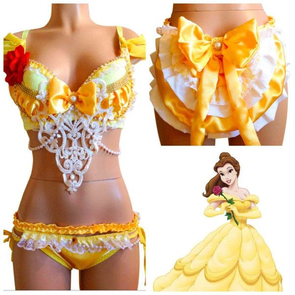 Beauty and the Beast Belle Inspired Rave Bra & Bottom, Rave Costume... ($125) ❤ liked on Polyvore featuring costumes, rave, princess costume, lace costume, sexy princess halloween costumes, princess belle costume y sexy belle costume