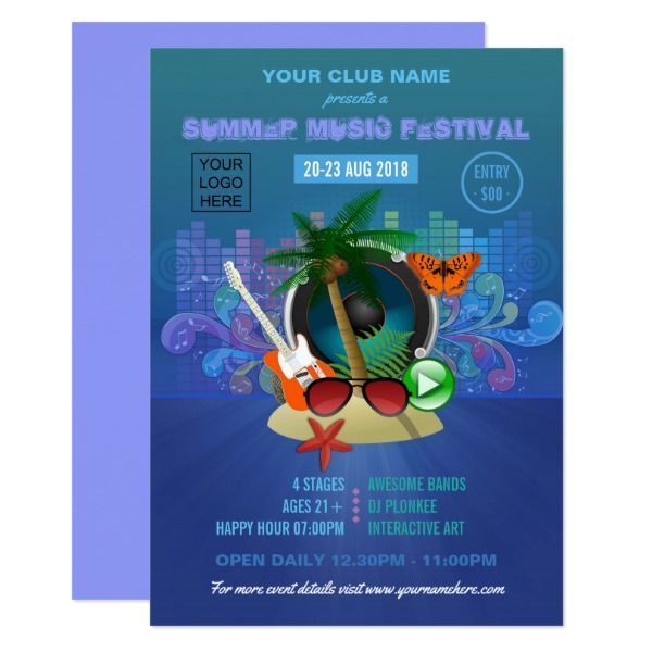 Summer Club Beach Party Add Logo Invite Custom Office Party
