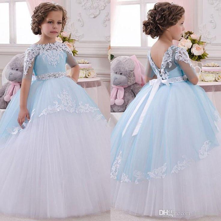 2016 New Baby Girl Dress Princess Flower Girls Dress Lace Appliques Wedding Prom Ball Gowns Birthday Communion Toddler Kids TuTu Skirt Dress