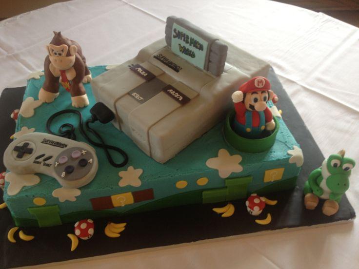 Grooms Cake For My Bro Super Nintendo Cake With Fondant