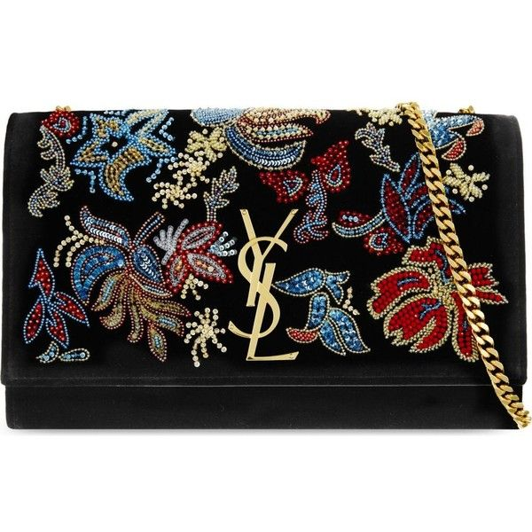 SAINT LAURENT Monogram medium velvet embroidered shoulder bag (£1,985) ❤ liked on Polyvore featuring bags, handbags, shoulder bags, black multi, floral handbags, shoulder bag purse, chain strap handbag, yves saint laurent purses and floral shoulder bag