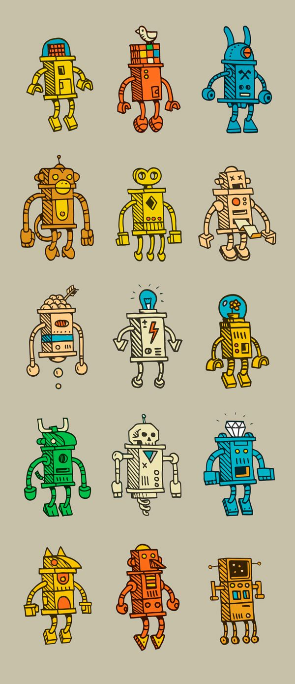 small robots / packing paper by Valle, Montreal, Quebec, Canada | Drawing, |Illustration | Pattern Design |