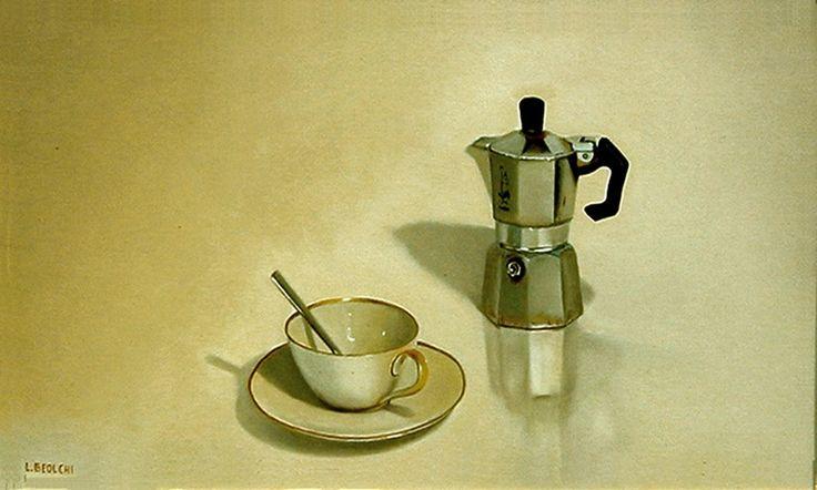 AUTORE : Luigi Beolchi  TITOLO : Caffè TECNICA : Olio su tela MISURE : 30x50 cm - 2008