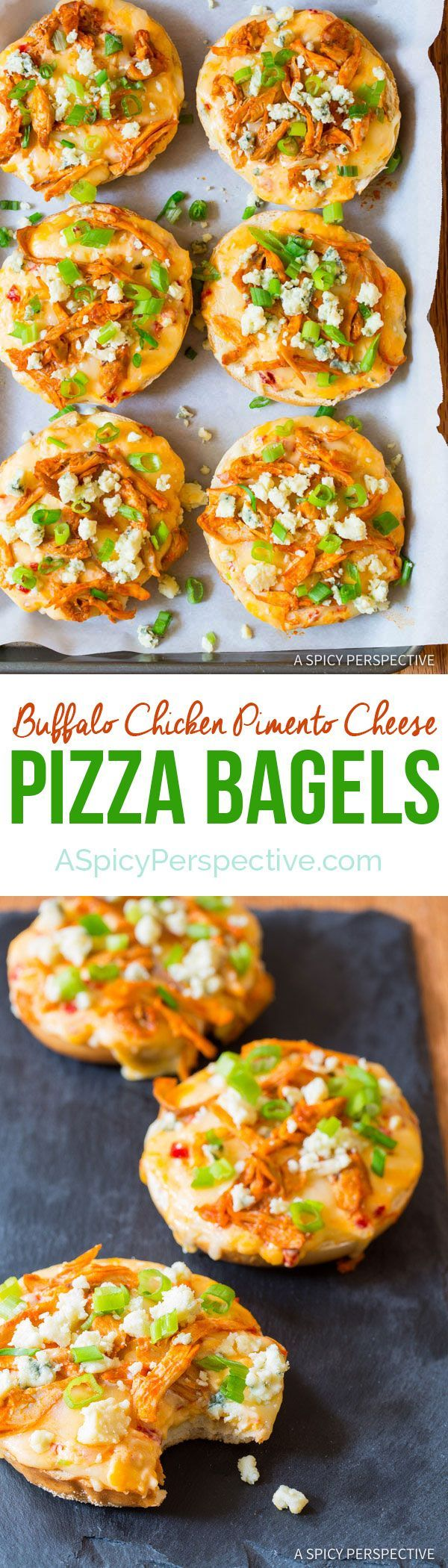 You've got to try these Buffalo Chicken Pimento Cheese Pizza Bagels on ASpicyPerspective.com. 7-Ingredients, Loads of Flavor!