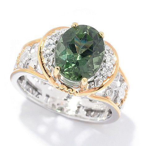 168-958 - Gems en Vogue  2.55ctw Chrome  Apatite & White  Zircon Cocktail  Ring