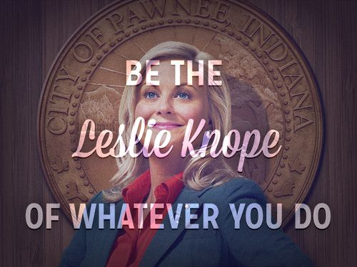 Be the Leslie Knope of whatever you do.