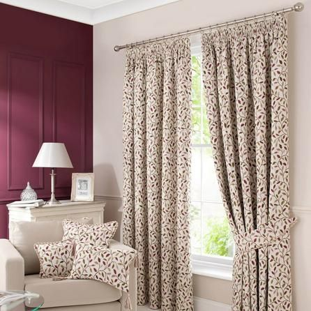 Dunelm Damson Purple Heritage Glava Lined Pencil Pleat Curtains