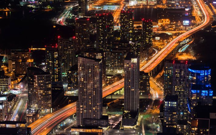 Download wallpapers Toronto, nightscapes, buildings, roads, Canada