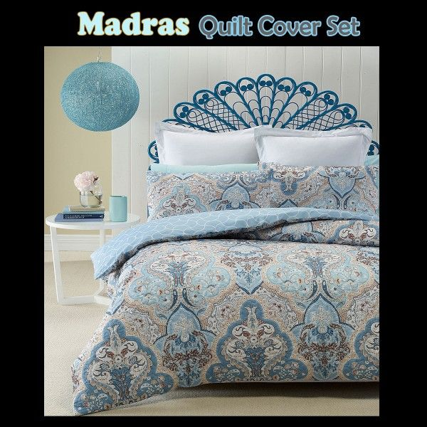 This Madras Quilt Cover Set by Phase 2 features lightly quilted cover with traditional design and vintage pattern with geometric chain reverse side pattern.