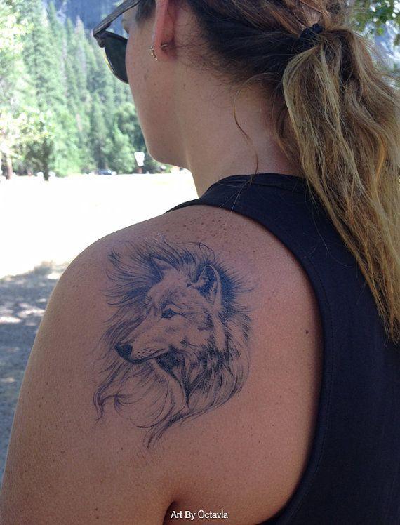 Beautiful Wolf Tattoo, Wolf Tattoo, Arctic Wolf, Temporary Tattoo, Nature Tattoo, Wolf Art, Winter Tattoo