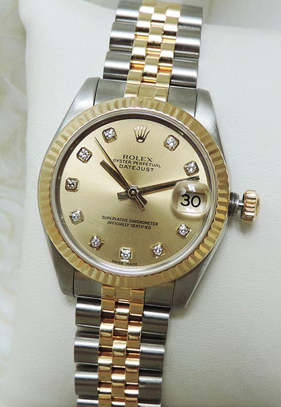 "Rolex Midsize Two Tone Diamond Dial Oyster Perpetual Women's Watch w/ Box 2006 ""Previously Enjoyed"" Price: $5,998"