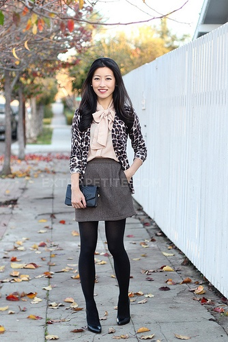 Extra Petite - tweed skirt with tights