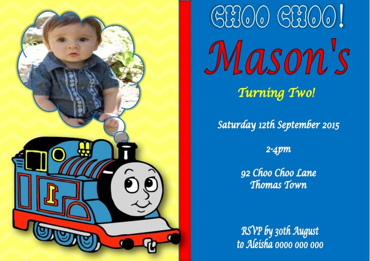 Thomas the Tank Engine Invitation $12AUD emailed to you - you print and frame PAYPAL ACCEPTED!  Order here  www.facebook.com/readyforprint