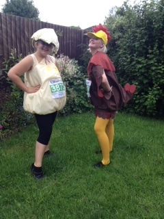 Sian and Anna took part in the Great Midlands Fun Run in 2012....dressed as a chicken and egg!