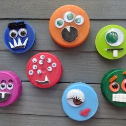 Plastic Lid Monster Magnets