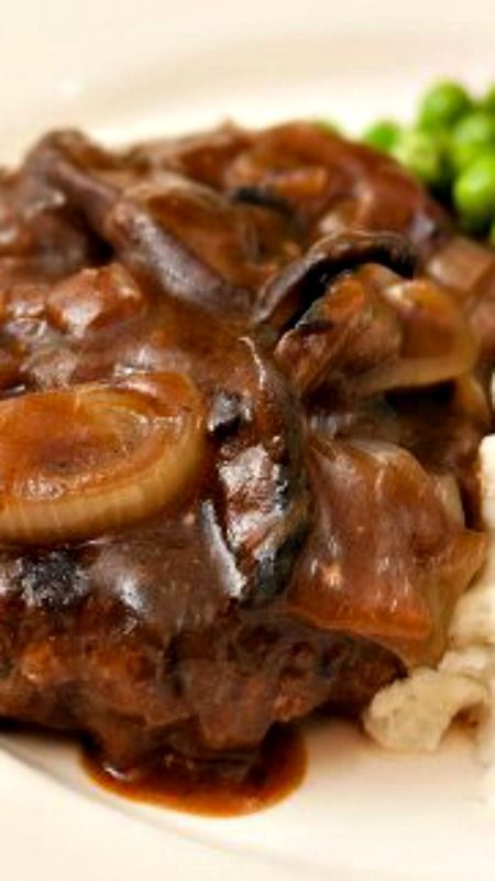 """Salisbury Steak w/ Mushroom-Onion Gravy ~ Seasoned beef patties are browned in a skillet, then mushrooms and onions are sauteed down in the pan drippings to create a rich and delicious brown gravy, that the """"steaks"""" simmer in for a few minutes to finish cooking"""