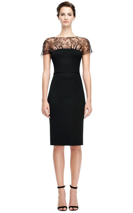 Fitted Pencil Dress with Lace Neckline by Nina Ricci