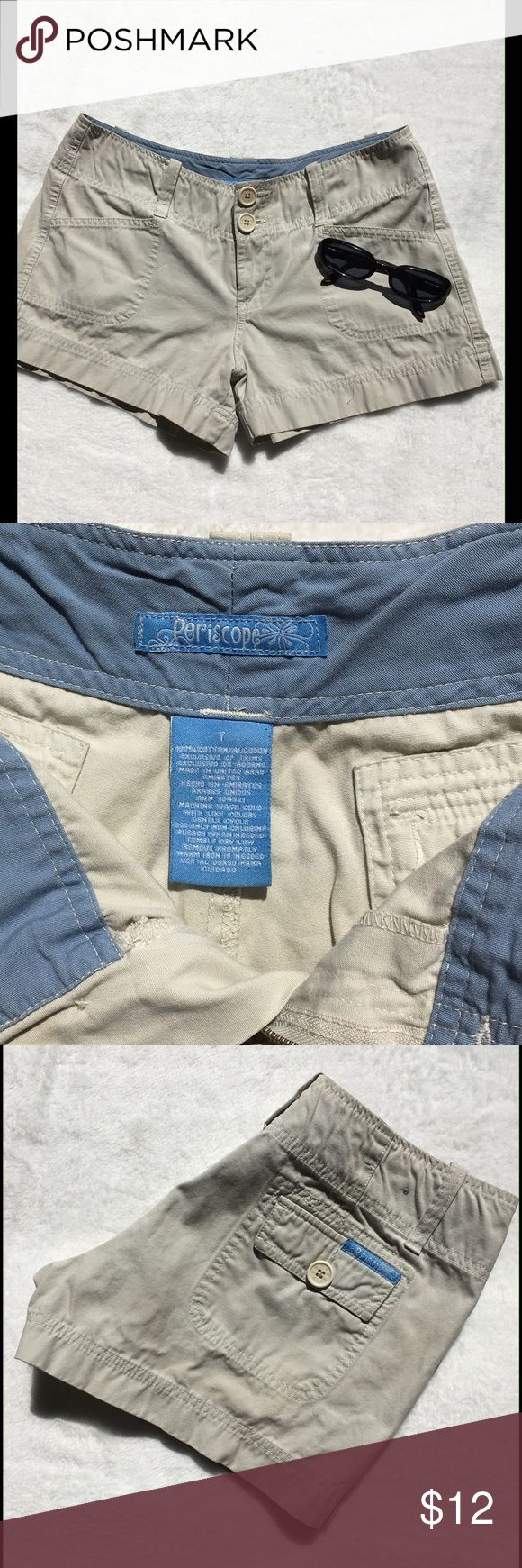 """Periscope Khaki Shorts Khaki Shorts with 3"""" inseam. Back pockets have flaps and buttons. Front slash pockets and double buttons at the waist. Size 7. EUC Periscope Shorts"""