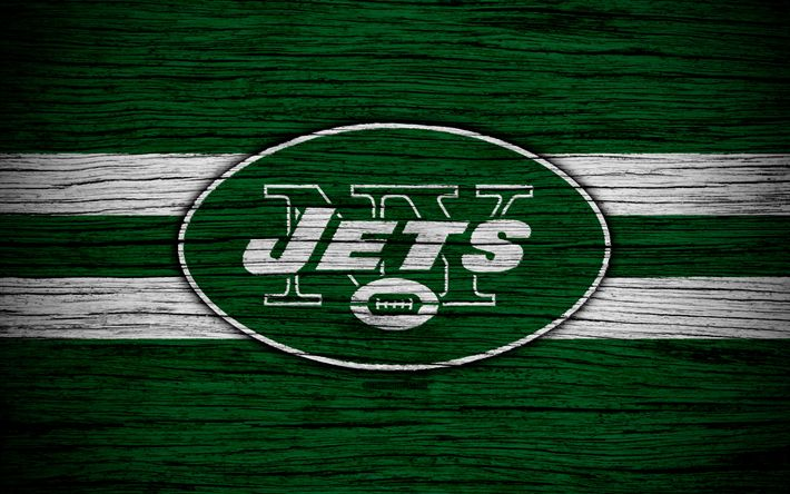 Download wallpapers New York Jets, NFL, American Conference, 4k, wooden texture, american football, logo, emblem, New York, USA, National Football League