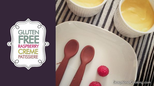 Gluten Free Creme Patissiere with Fresh Raspberries and Chocolate spoon.