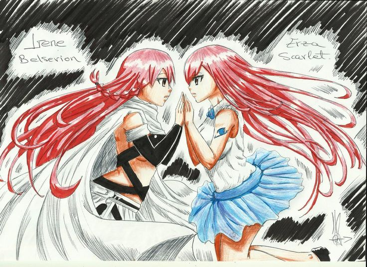 Eileen (irene) and Erza. (Fariy Tail) by kida-18reshiramshiny.deviantart.com on @DeviantArt
