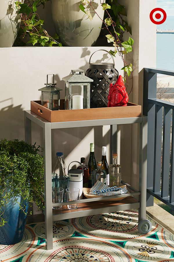 Set The Mood For Cocktail Hour With A Rolling Outdoor Bar Cart (this One  Even