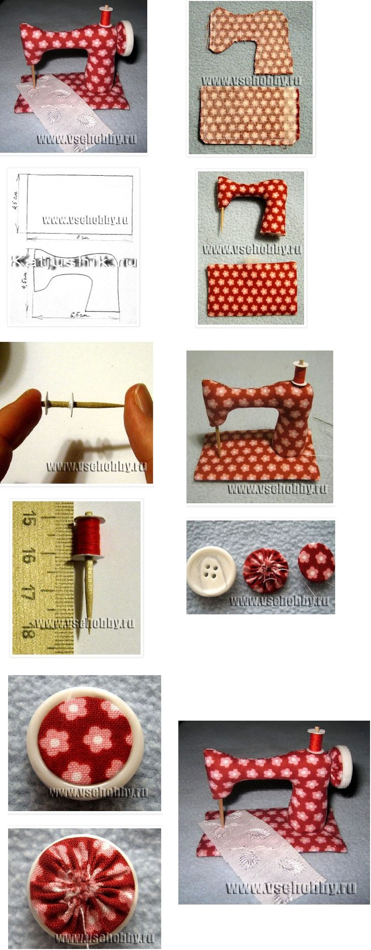 Cute sewing machine pincushion.