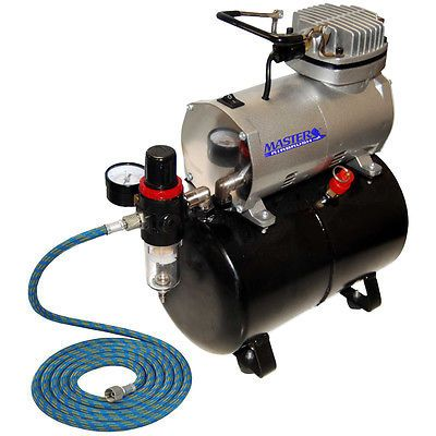 Powerful Master AIRBRUSH AIR COMPRESSOR w/ AIR TANK Regulator Filter Free Hose