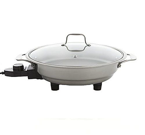 """Electric Skillet 18/10 Stainless Steel with Tempered Glass Lid 12"""" Round Food #CucinaPro"""