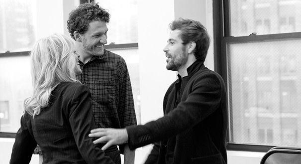 Judith Light, Gabriel Ebert and Matt Ryan in rehearsal for<em>Thérèse Raquin.</em>