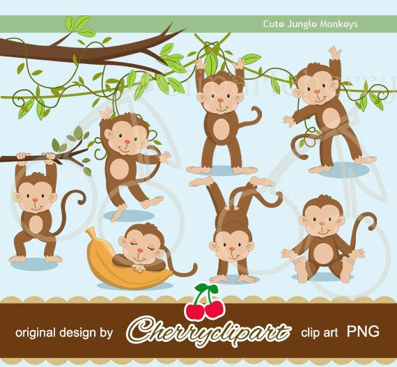 Cute Jungle Monkeys digital clipart for-Personal and Commercial Use-paper…