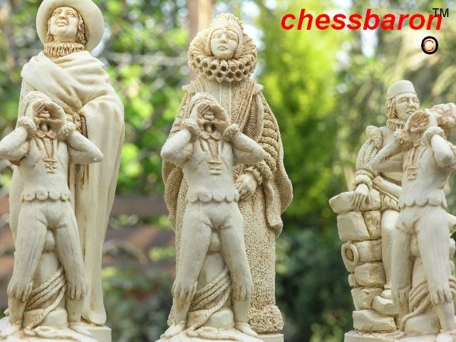 Christopher Columbus Chess Set Heavy Weighted in Crushed Marble. King Height 6 inches, Diameter 2.2 inch, Weight of 183g! Made in England. ST2015 Stunning chess pieces from ChessBaron.co.uk