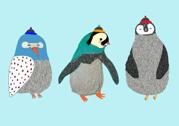 Penguins. Illustration Art Print. Penguin Poster by AshleyPercival